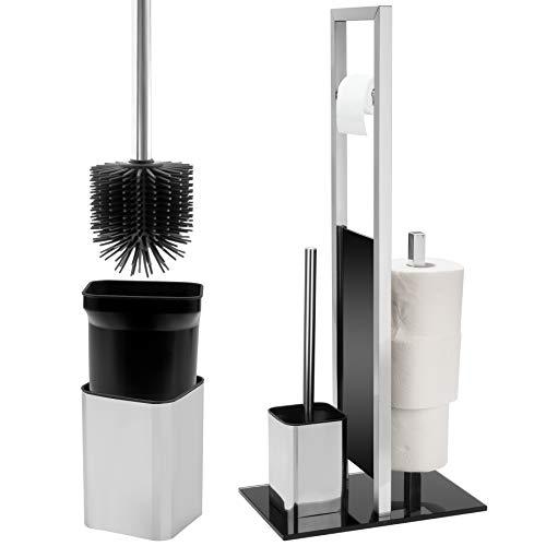 BearCraft Wc-Garnitur inklusive Silikon-Klobürste | WC Ständer in zeitlosem Design aus Glas und Edelstahl (WC-Garnitur)