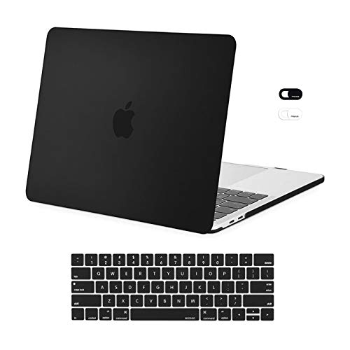 MOSISO Compatible with MacBook Pro 13 inch Case 2016-2020 Release A2338 M1 A2289 A2251 A2159 A1989 A1706 A1708, Plastic Hard Shell Case & Keyboard Cover Skin & Webcam Cover, Black