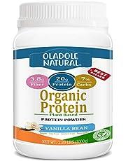 Oladole Natural Plant Based Organic Protein Powder, Vanilla Bean - Vegan, Low Net Carbs, Non Dairy, Gluten Free, Lactose Free, No Sugar Added, Soy Free, Kosher, Non-GMO, 2.20 Pound 1kg