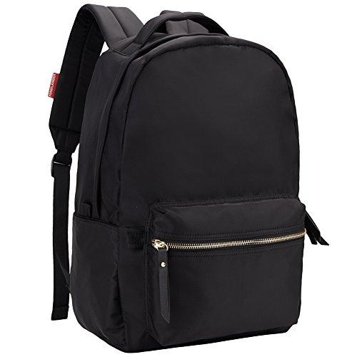HawLander Women's Backpack School Bag Nylon Daypack Lightweight and Waterproof Fits 14 Inch Laptop Black One Size