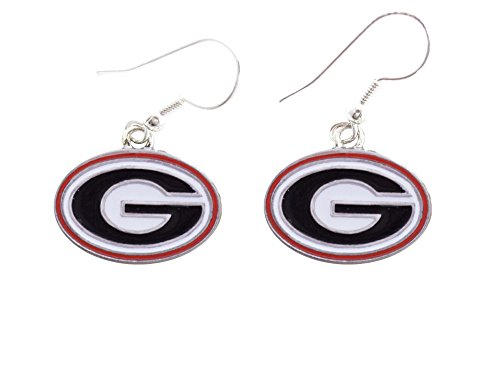 Georgia Bulldogs Iridescent Red White Silver Charm French Hook Earring Jewelry UGA