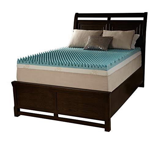 Simmons Beautyrest Comforpedic Loft from Beautyrest 4-inch Sculpted Gel Memory Foam Mattress Topper Blue/White Queen
