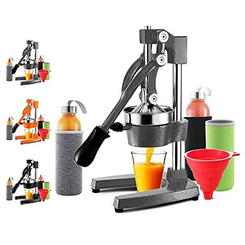 Prensa de zumo manual JoyTable – Mejor exprimidor de zumo de naranja – Juego de prensa de zumo con botellas de vidrio, mangas y embudo – Exprimidor manual para naranjas, pomelo, frutas, cítricos