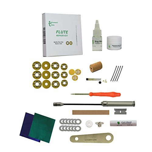 Premium Instrument Clinic Flute Pad Kit, with Head Cork, Leak Light, Pad Iron, Fits Jupiter Closed Hole Flutes