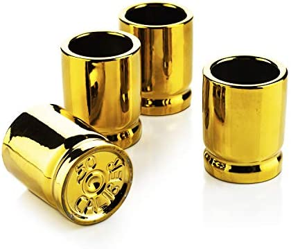 50 Caliber Shot Glasses Set Set of 4 Each holds 2 Ounces Tactical Bullet Casings Shot Glasses product image