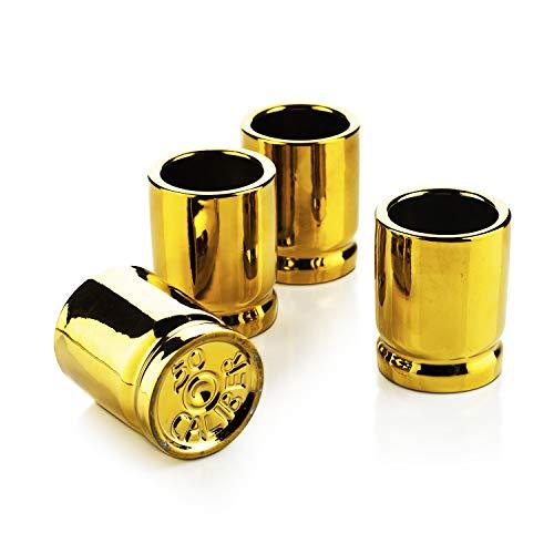 50 Caliber Bullet Shot Glasses Set - Set of 4 - Each holds 2 Ounces -...