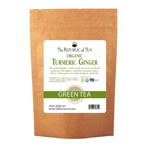 The Republic of Tea Organic Turmeric Ginger Green Tea, 250 Tea Bags, Gourmet Green Tea And Turmeric Tea