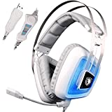 7.1 Channel Virtual Gaming Headset Surround Sound USB Gaming Headset Over-Ear Headphones with Noise Isolating Mic LED Light for PC Mac Computer Gamers(White Blue)