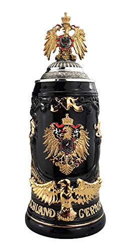 KING Jarra de Cerveza Águila de 0,75 litros de Alemania, Negra, águila Dorada Hecha de estaño, con asa y Tapa Doradas