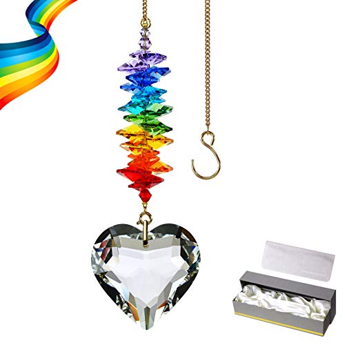 45mm Clear Heart Crystal Suncatcher Handmade Rainbow Maker Prism Outdoor Indoor Hanging Window Decorations Gifts for Grandma Mom and Children Clear Heart