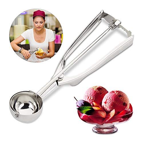 Relaxdays Eisportionierer Edelstahl, mit Auslöser, für Eis, Obst, Keksteig, Eiskugel ∅ 39 mm, Ice Cream Scoop, silber