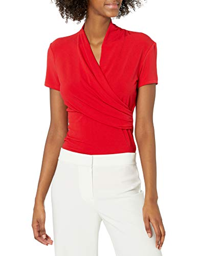 DKNY Short Sleeve Side Ruche Camicia, Papavero, XS Donna