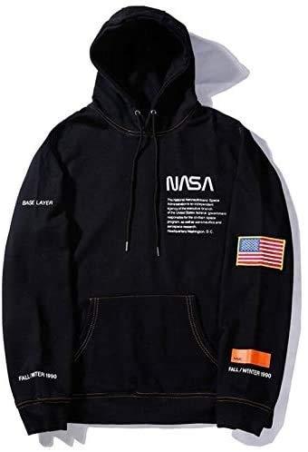 NASA Logo Hoodie Mannen Vrouwen Pocket Receptie Sweater grafische print met lange mouwen Blouse Tops Hbche (Color : Black, Size : XL)