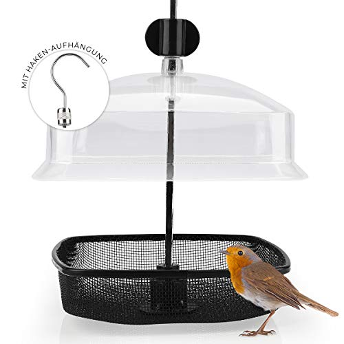WILDLIFE FRIEND | Comedero para gusanos de la harina – Comedero para pájaros con protección contra la lluvia para colgar, comedero para pájaros silvestres durante todo el año.