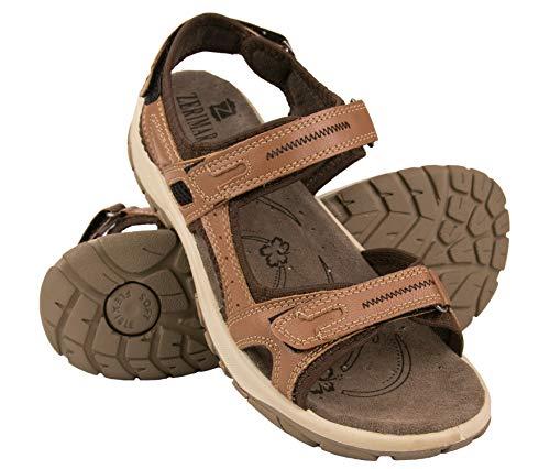 Zerimar Sandalias Trekking Velcro   Sandalias Verano Mujer   Sandalias Trekking Cuero   Sandalias de Piel   Sandalias Deportivas Piel   Color: Tan Talla 37