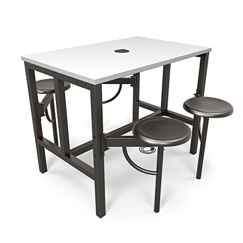 OFM Core Collection Endure Series Standing Height Table, 4 Seats, White Dry-Erase Top with Dark Vein Backless Seats