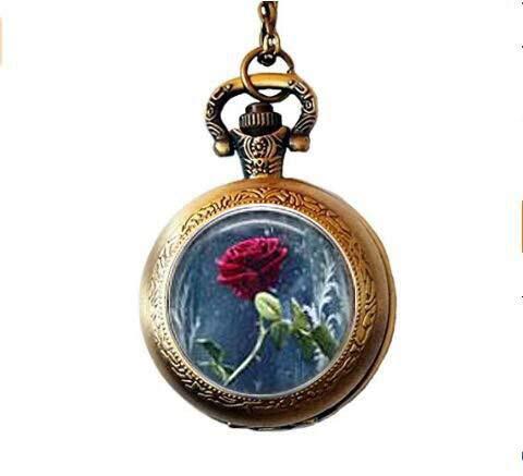 bab Taschenuhr mit Halskette Beauty & The Beast mit Rose