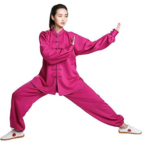 Tai Chi Uniform Damen, Kung Fu Kampfsportbekleidung für Herren Chinesischer Langarm Tang Anzug Plus Samtverdickung Übergroße Sportbekleidung,Rosered-Large