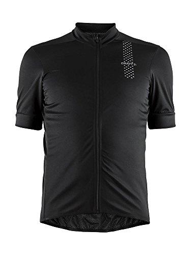 Craft Uomo Rise Bike e Ciclismo Allenamento Riflettente Wicking Full Zip Maglia Manica Corta Maglia UPF 50+, Uomo, Nero , XS