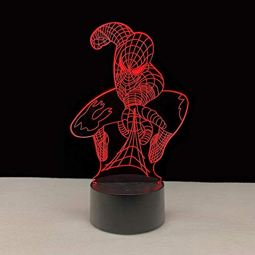 3D Hero Spiderman Pattern Night Light,Sleep Light,Illusion Lamp,7 Color Change Decorative Lights, Kids Toys Birthday Gift Touch with Remote Control for Baby Adults Bedroom