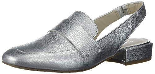 Kenneth Cole REACTION Women's Bavi Menswear Inspired Slingback Loafer Flat, Silver, 9.5 M US