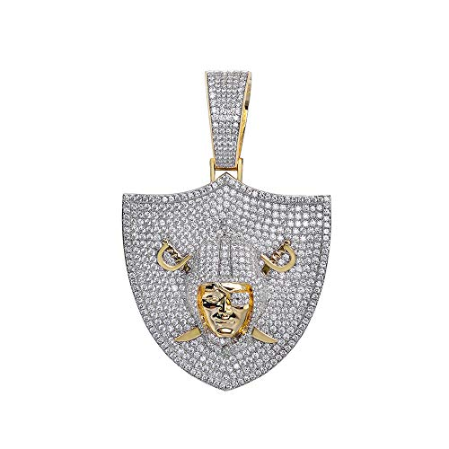 Mens 14k Gold Finish Money Raidors Sea Pirate Anchor Sword Iced Prong Set for Cuban Chain Men, Miami Fits to Cuban Link Chain Choker Necklace (Pendant Only) Fits Upto 18mm Chains