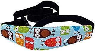 حزام امان قابل للتعديل لحماية راس الاطفال حديثي الولادة في مقعد السيارة المخصص للاطفال- وردي بنقش بومة