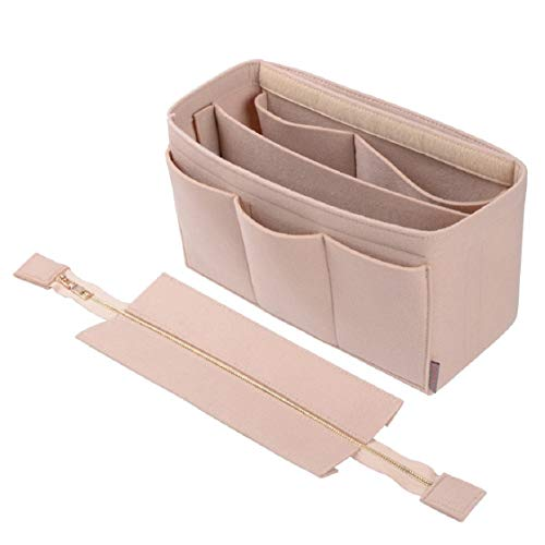 Purse Organizer Insert,Felt Bag Organizer with NEW Detachable Zipper cover, fits LV, St Lious, Tote and handbag shaper (Large for St Louis GM, Beige)