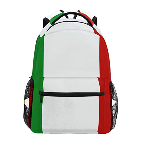 Zaino casual con bandiera dell'Italia per studenti, scuola, viaggi, escursionismo, campeggio, computer portatile