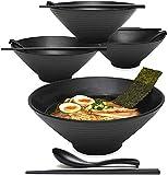GCE 4 Set (12 Pezzi) Grande Ciotola da zuppa Giapponese in melamina stoviglie in plastica Rigida Set di Ciotole per Ramen con Cucchiaio e Bacchette abbinati per tagliatelle asiatiche Udon Soba