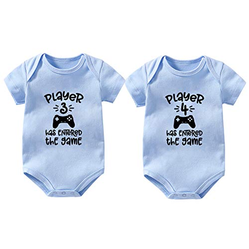culbutomind Baby Body gemelli, 2 set giocatori, 3 giocatori, 4 regali per neonati, per la nascita e la nascita Blu 0-3 Mesi