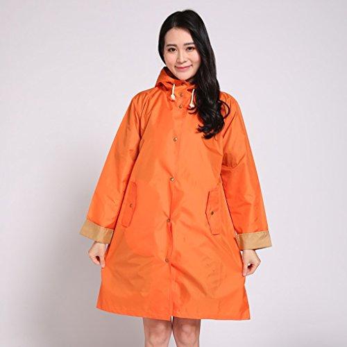 Vestes anti-pluie QFF Adulte Raincoat Femme à Pied Thin Longed Poncho Waterproof Lovely Fashion (Couleur : Orange)