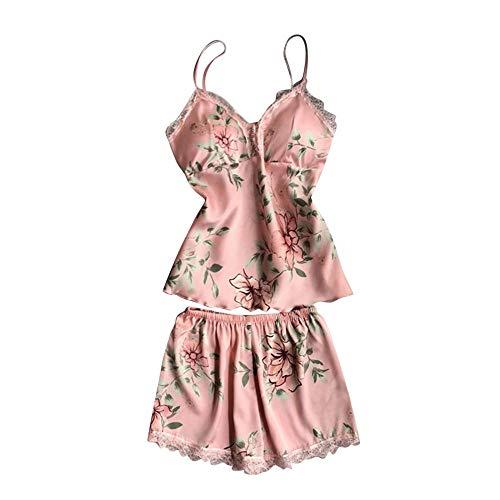 Conjunto De Pijamas Para Mujer,Conjunto De Pijama De Encaje Sexy Para Mujer Con Estampado De Flores Rosadas, Conjuntos De Babydoll De Satén, Ropa De Dormir, Camisola De Satén, Tops, Pantalones Cor