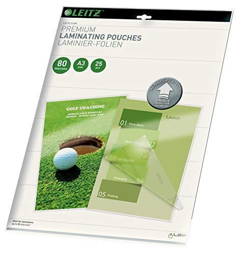 Leitz 748600000 Pochettes de plastification, Matériau Épais de 80 Microns (Transparent, Brillant, A3) - Pack de 25