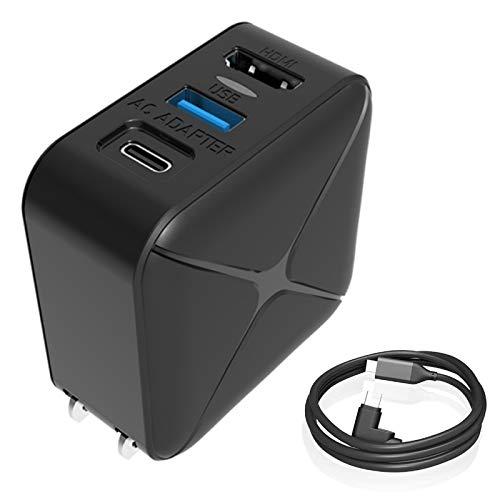 Switch用 ACアダプター Chayoo 多機能 3in1 HDMI Type-c充電器 USB3.0 PD 30W急速充電 変換アダプター PSE認証済 スイッチ ドック代用品 TVモード対応 テレビ出力、スマホ、ノートパソコンなど対応 L型1.2M Type-Cケーブル付き 日本語取扱説明書