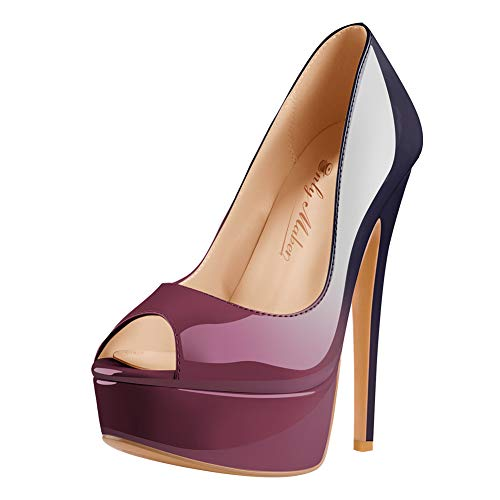 Only maker Damen Peeptoes Plateau Pumps Elegante Stiletto High Heels Blau Lila 38 EU