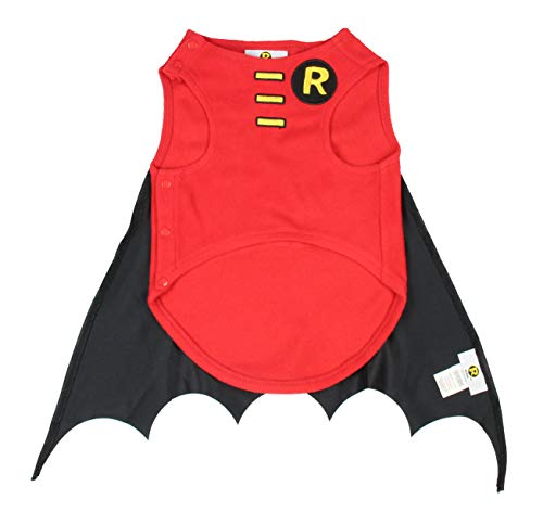 DC Comics Robin Superhero Halloween Pet Costume Sweater Outfit For Small Breed Dogs Or Cats (Large)
