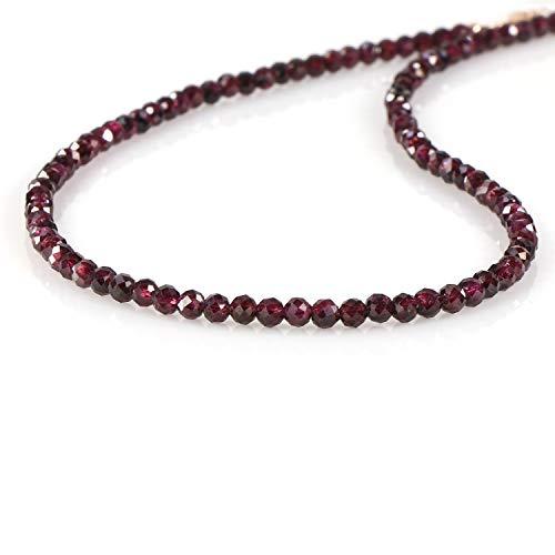 Collar de piedras preciosas de perlas redondas facetadas de granate con cadena de plata de ley 925 chapada en oro rosa para mujer. Regalo para ella, Navidad, cumpleaños, aniversario, Año Nuevo - 47 cm