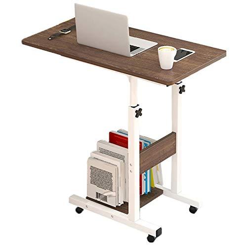 Mesa de trabajo para computadora con ruedas, mesa de noche con 4 ruedas, altura ajustable y ángulo, portátil, portátil, mesa auxiliar lateral pequeña (color 3, tamaño: A)