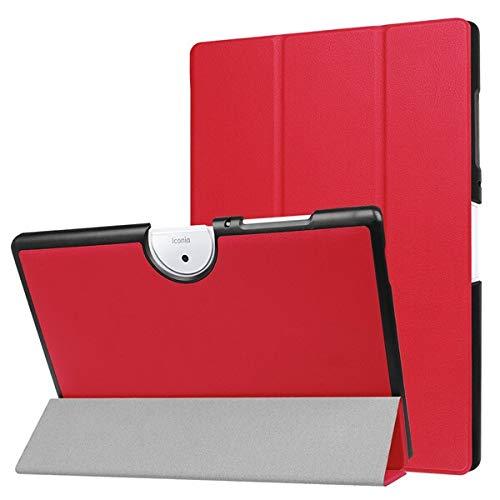 HHF Pad Accesorios para Acer Iconia One 10 B3-A40, Soporte de Cuero PU Piel Protectora Magnética Tableta Delgada Cubierta para Acer Tab B3 A40 (Color : Rojo)