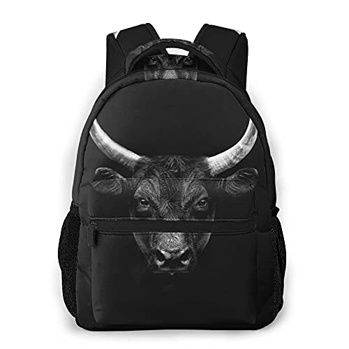 QQIAEJIA Casual Zaino,Black Camargue Bull Face Portrait Isolat,Business Zainetto Schoolbag For Men Women Teen