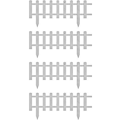 Floranica® Vorgarten Zaun aus Holz | Modell 2021 | wetterfest imprägniert - Steckzaun | Minizaun | Zierzaun als Gartenzaun | Lattenzaun, Farbe:Weiß, Größe:4 STK. 104cm lang / 30cm hoch