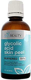 GLYCOLIC Acid 70% Skin Chemical Peel - BUFFERED - Alpha Hydroxy (AHA) For Acne, Oily Skin, Wrinkles, Blackheads, Large Pores,Dull Skin… (2oz/60ml)