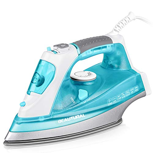 Best Deals! BEAUTURAL 1800 Watt Steam Iron for Clothes with Precision Thermostat Dial, Double Layere...