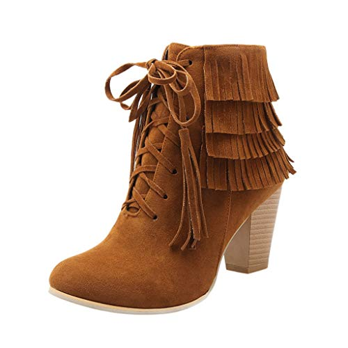 Review Of BEAUTYVAN Women's Dress Block Heel Ankle Boot Ladies Fringe Thigh High Heels Lace-up Booti...
