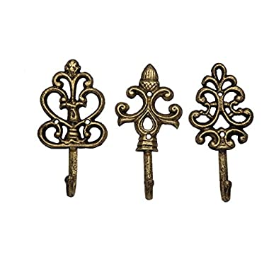 Shabby Chic Cast Iron Decorative Wall Hooks - Rustic - Golden - Farmhouse - Metalic - French Country Charm - Large Decorative Hanging Hooks - Set of 3 - Screws and Anchors for Mounting Included