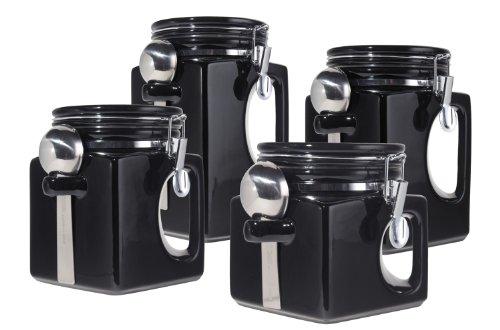 Oggi EZ Grip Handle Ceramic 4 Piece Canister Set, Black