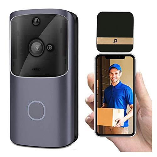 Smart IP Video Intercom WiFi Video Door Door Door Bell WiFi Timbre Cámara de Doorbell IR Alarma Cámaras de Seguridad inalámbricas para iOS y Android (Color : Black)