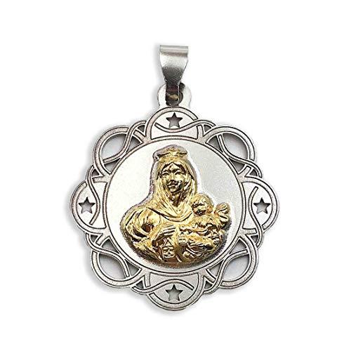 Medalla Religiosa - Virgen del Carmen 25 mm. Oro de 18 K y Plata de Ley 925 milésimas.