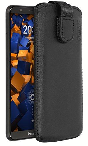 mumbi Echt Ledertasche kompatibel mit Honor 7X Hülle Leder Tasche Hülle Wallet, schwarz